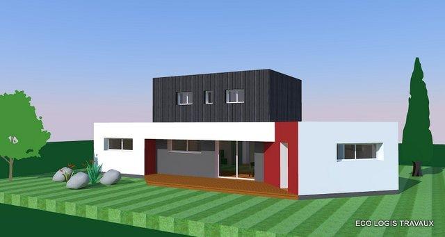 Plan de maison moderne à toit plat