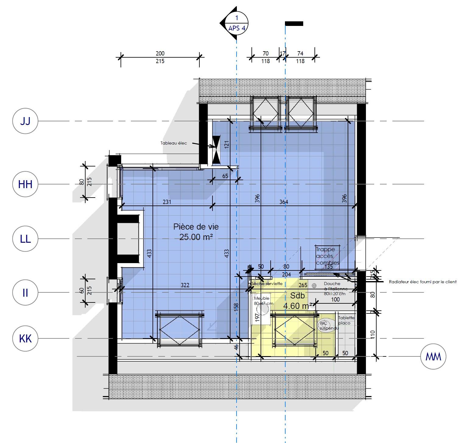 plan d'architecte construction studio dans une maison à Loctudy